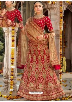 9f90e6615ba Admirable Red Silk Heavy Embroidered Designer Bridal Lehenga Choli