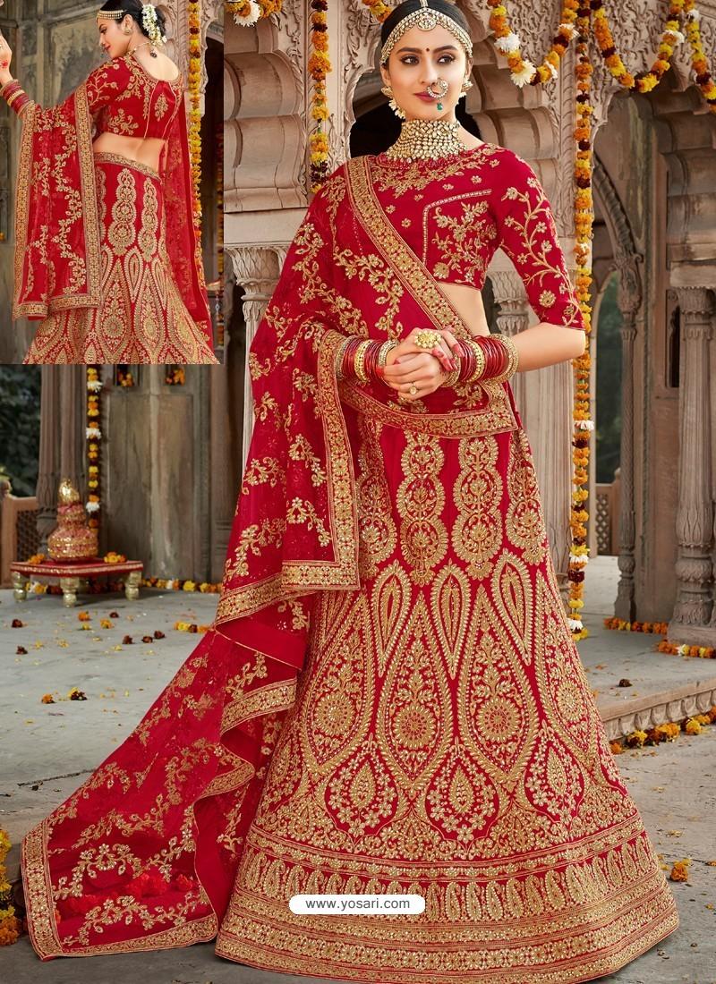 dc915ff0f8 Buy Eyeful Red Silk Heavy Embroidered Designer Bridal Lehenga Choli ...