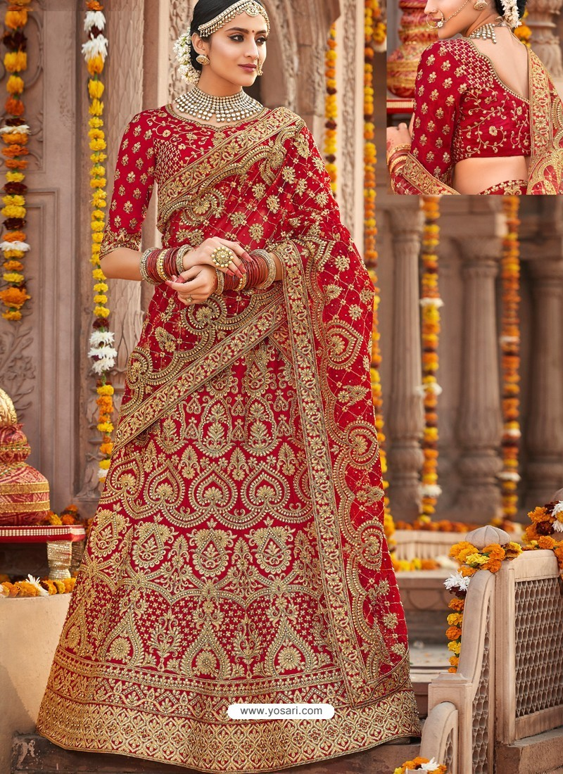447fcac935c5 Buy Flawless Red Silk Heavy Embroidered Designer Bridal Lehenga ...
