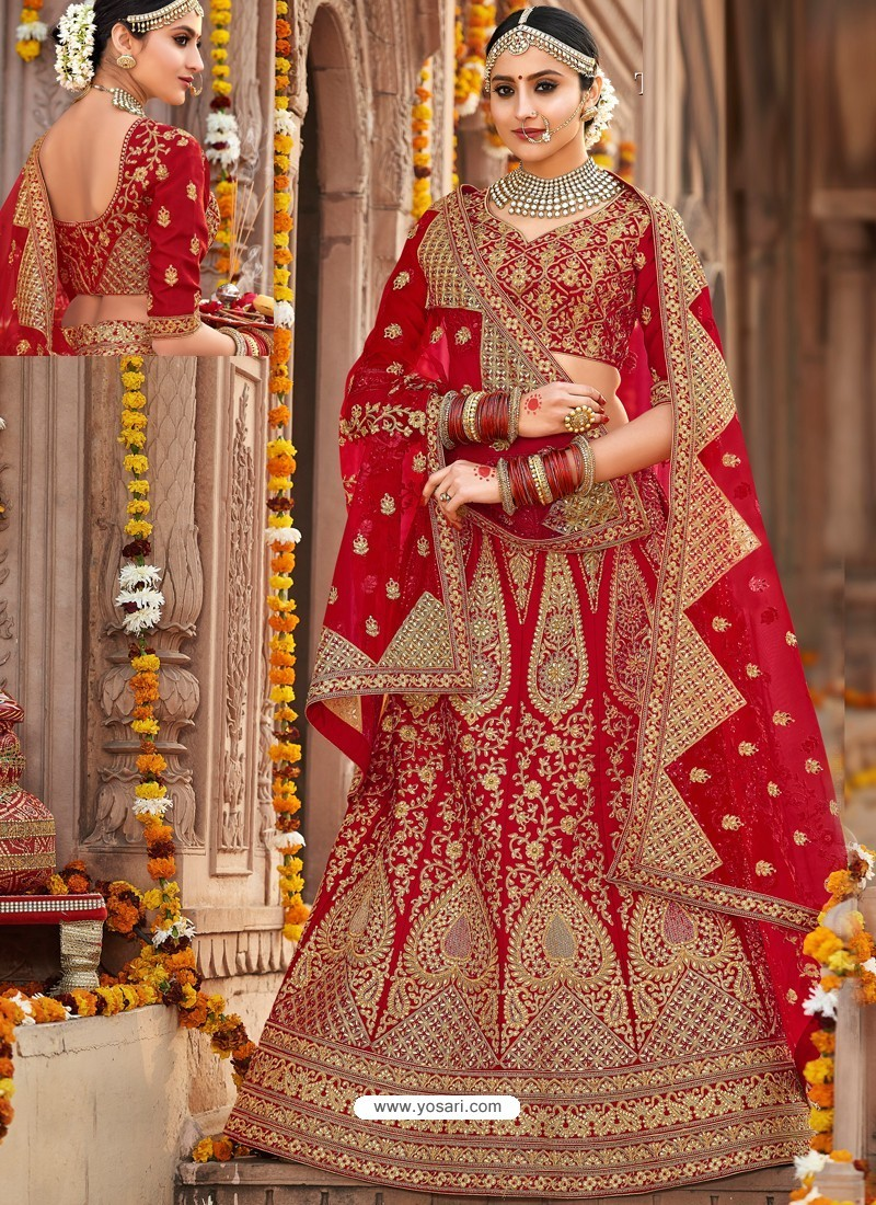 64e2b6fcdf Buy Desirable Red Silk Heavy Embroidered Designer Bridal Lehenga ...
