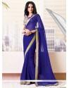 Amazing Blue Shaded Crystal Faux Chiffon Saree