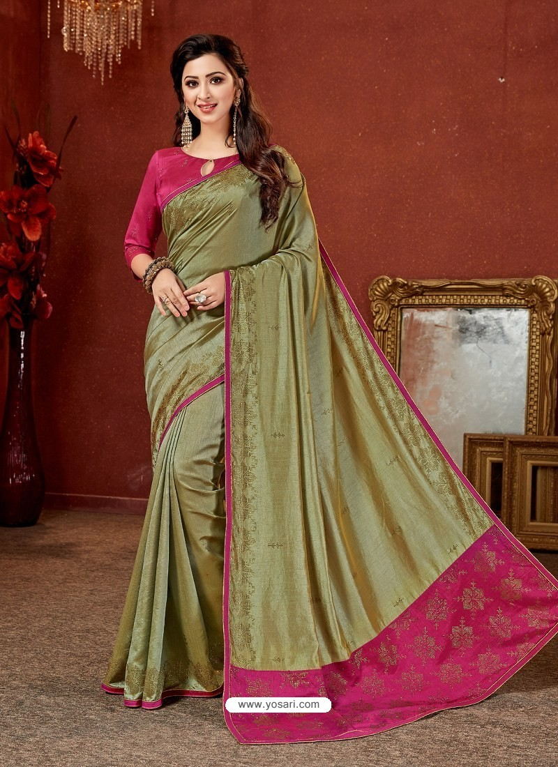 fed8b4af0d03a0 Buy Mehendi Crepe Silk Stone Embroidered Party Wear Saree