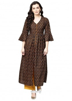 Pleasing Black Cotton Printed Readymade Kurti
