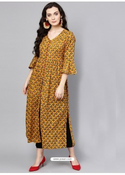 Graceful Mustard Cotton Printed Readymade Kurti
