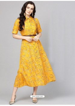 Attractive Yellow Cotton Printed Readymade Kurti