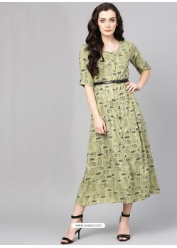 Olive Green Cotton Printed Readymade Kurti