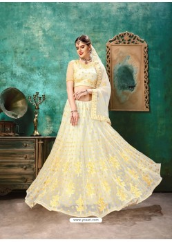 Cream And Yellow Net Resham Work Designer Lehenga Choli