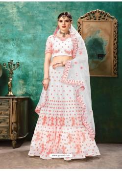 White And Pink Net Resham Work Designer Lehenga Choli