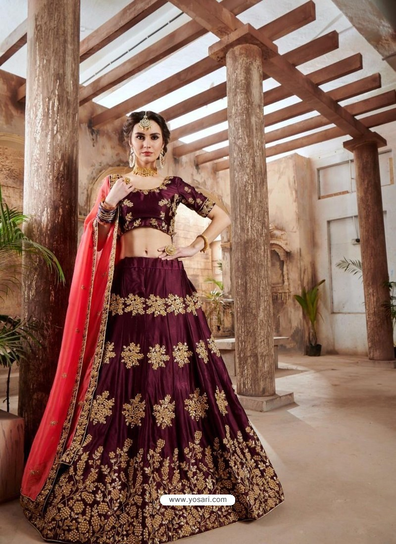 d8d5165079 Buy Wine Velvet Embroidered Designer Lehenga Choli | Designer ...