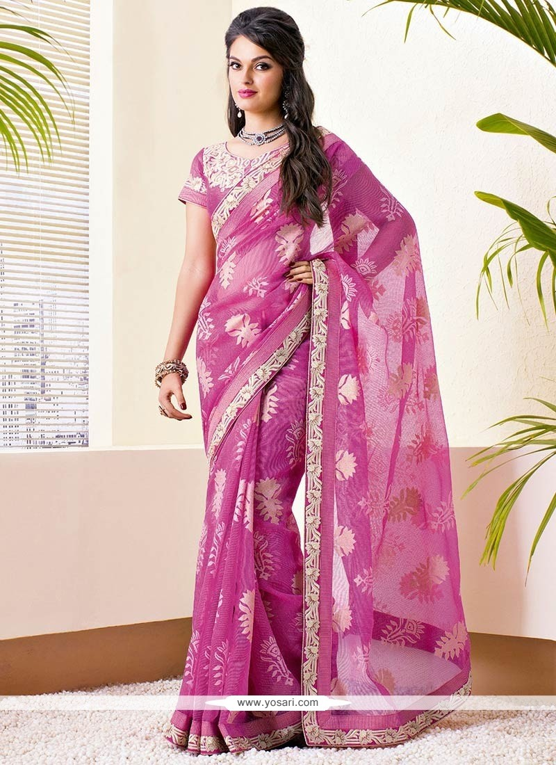Pink Brasso Georgette Applique Saree
