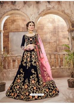 Black Velvet Embroidered Designer Lehenga Choli