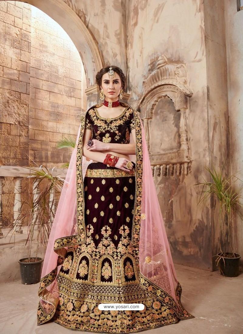 86f0f2b7fd Buy Maroon Velvet Embroidered Designer Lehenga Choli | Designer ...