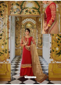 Red Georgette Embroidered Palazzo Suit