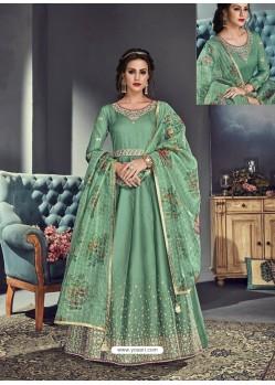 Green Tussar Silk Designer Anarkali Suit