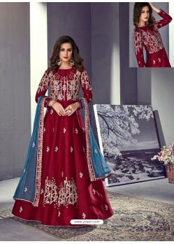 Maroon Tussar Silk Designer Anarkali Suit