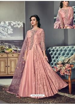 Peach Tussar Silk Designer Anarkali Suit