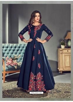 Navy Blue Tussar Silk Designer Anarkali Suit