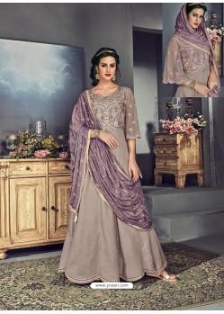 Taupe Tussar Silk Designer Anarkali Suit