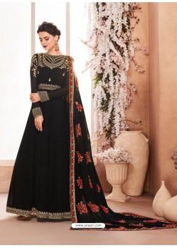 Black Real Georgette Embroidered Anarkali Suit