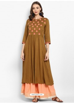 Brown Viscose Rayon Readymade Printed Kurti