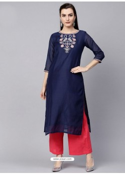 Navy Blue Silk Blend Readymade Printed Kurti