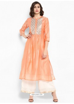 Peach Silk Blend Readymade Printed Kurti