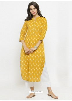 Yellow Cotton Blend Readymade Printed Kurti