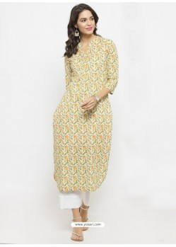Off White Cotton Blend Readymade Printed Kurti