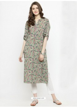 Grey Cotton Blend Readymade Printed Kurti