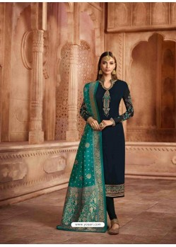 Black Georgette Designer Churidar Suit