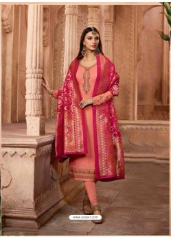 Peach Georgette Designer Churidar Suit