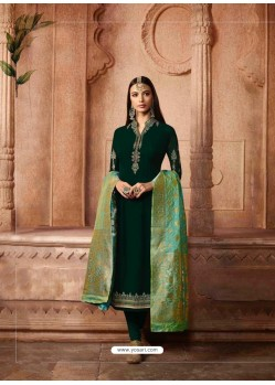 Dark Green Georgette Designer Churidar Suit