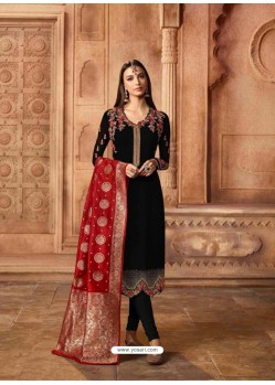 Elegant Black Georgette Designer Churidar Suit