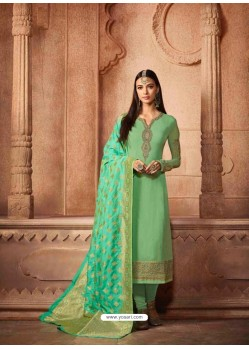 Sea Green Georgette Designer Churidar Suit