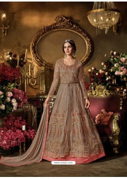Light Brown Net Embroidered Anarkali Suit