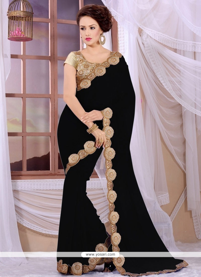 Fab Black Georgette Lace Work Saree
