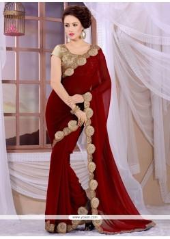 Miraculous Maroon Georgette Designer Saree