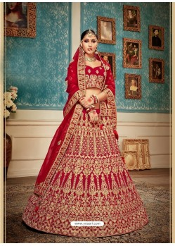 Fashionable Red Velvet Heavy Embroidered Bridal Lehenga Choli
