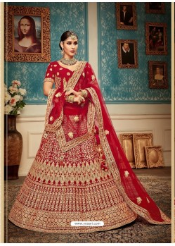 Wonderful Red Velvet Heavy Embroidered Bridal Lehenga Choli