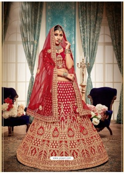 Heavenly Red Velvet Heavy Embroidered Bridal Lehenga Choli
