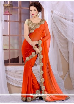 Stupendous Orange Georgette Designer Saree