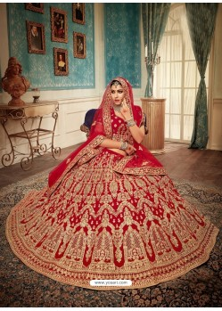 Pleasing Red Velvet Heavy Embroidered Bridal Lehenga Choli