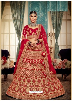 Desirable Red Velvet Heavy Embroidered Bridal Lehenga Choli