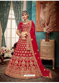 Fabulous Red Velvet Heavy Embroidered Bridal Lehenga Choli