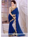 Modish Blue Georgette Designer Saree