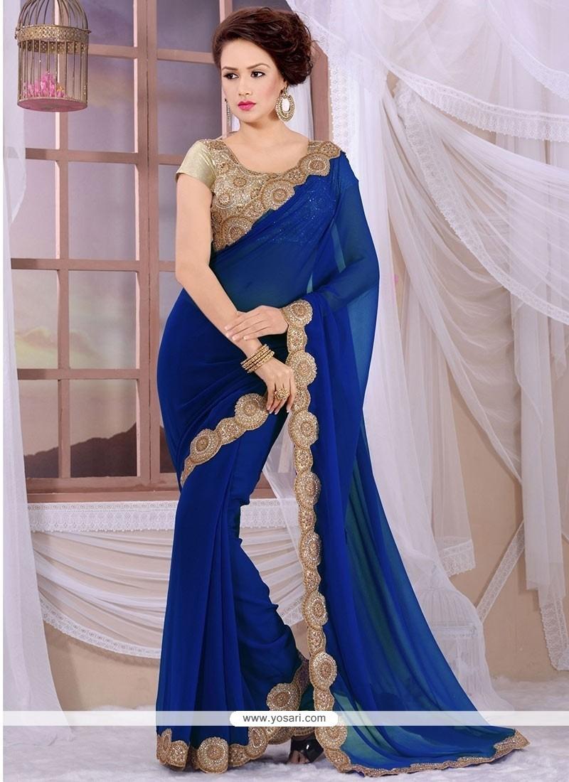 Modish Blue Georgette Designer Saree