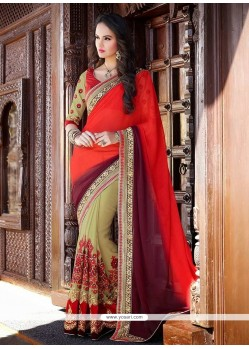 Awesome Red And Beige Chiffon Half And Half Saree