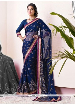 Blue Shaded Printed Faux Chiffon Saree