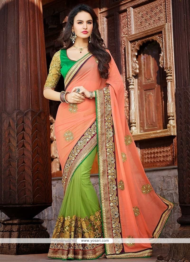 Green And Peach Net Half And Half Saree
