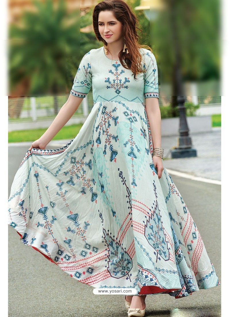 23637411fa Buy Sky Blue Maslin Cotton Digital Printed Designer Gown | Gowns